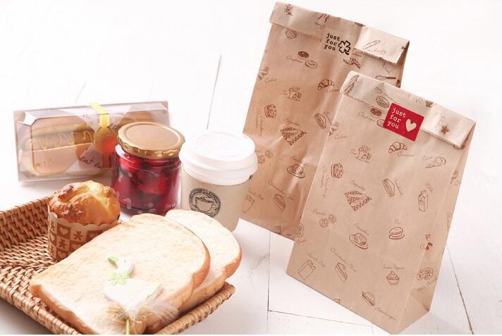alimento 50pcs / lot Grasa Prueba Kraft Bolsas de papel, bolso del caramelo, bolsas de envasado de alimentos horneados 15x28x9cm envío