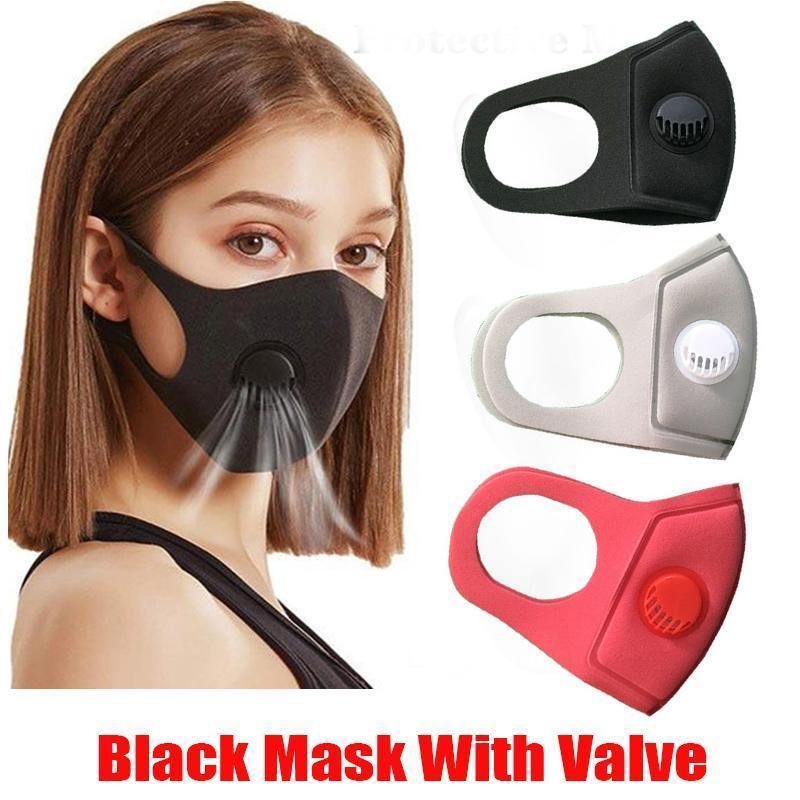 Schwarz Anti Staubmaske mit Ventil PM2.5 Atemfilter Schutz Gesicht Mund Baumwolle Masken Respirator Waschbar Wiederverwendbare Anti-Fog Haze pVcvD