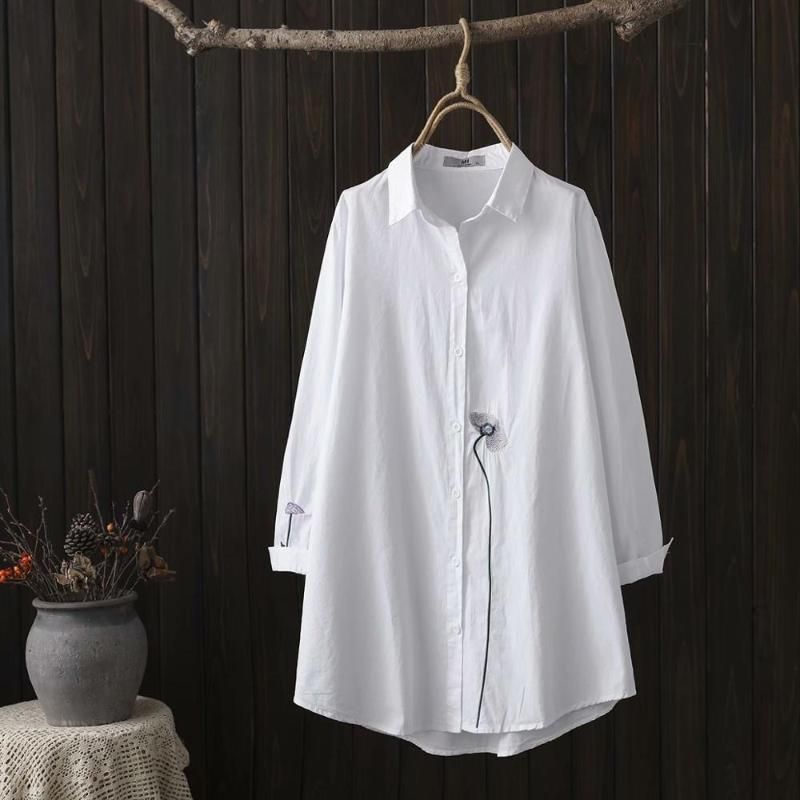 Plus size women A line long white cotton shirts Simple embroidery long sleeve 2021 new spring casual ladies blouse tops female
