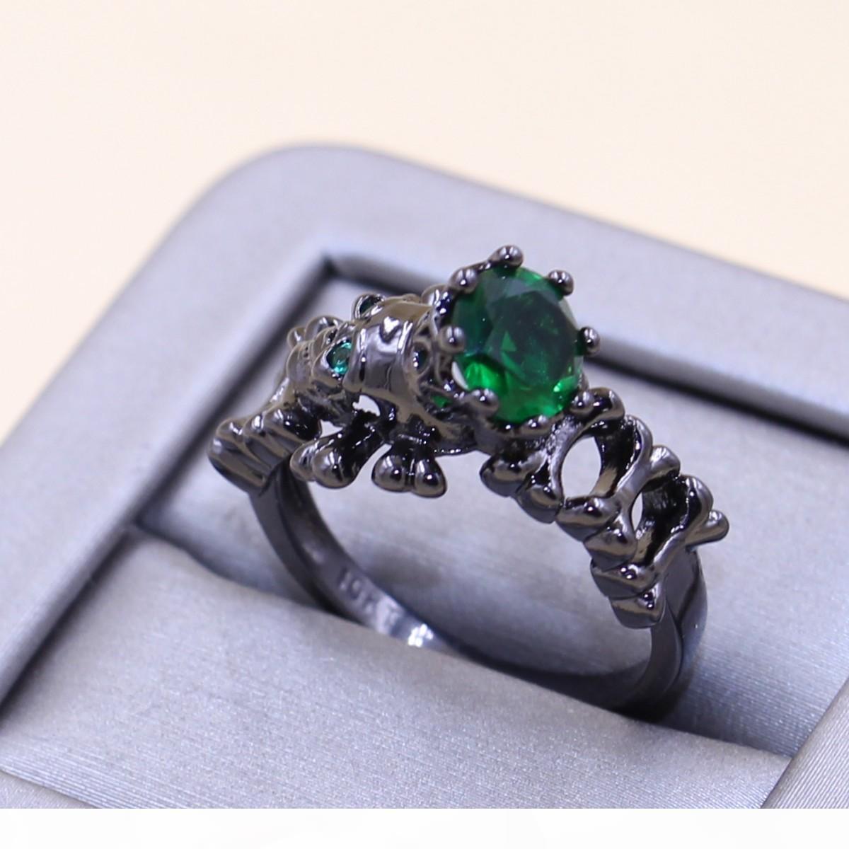 Una nueva llegada 2017 joyas impresionantes punky de la manera 10kt Gold Filled Negro Skull Ring Anillo de boda de diamante de la CZ Esmeralda Partido popular de las mujeres