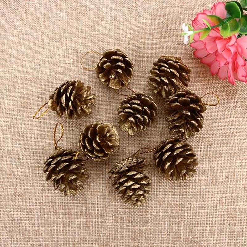 9PCS New Vogue Christmas Gold Pine Cones Baubles Xmas Tree Decoration Ornaments Gift Decor Party Supplies