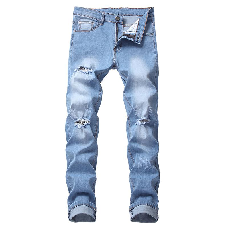Retro ripped jeans men pants long trousers destroyed summer 2020 European American style plus size 42 ripped jeans male