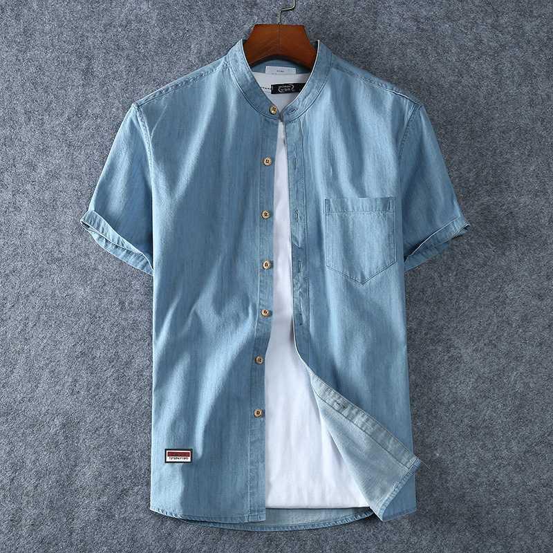 Más las camisas de manga corta camisa de dril de algodón 100% algodón de la manera del collar del soporte Tamaño 6XL 7XL 8XL hombres del verano flojo ocasional masculina de la marca