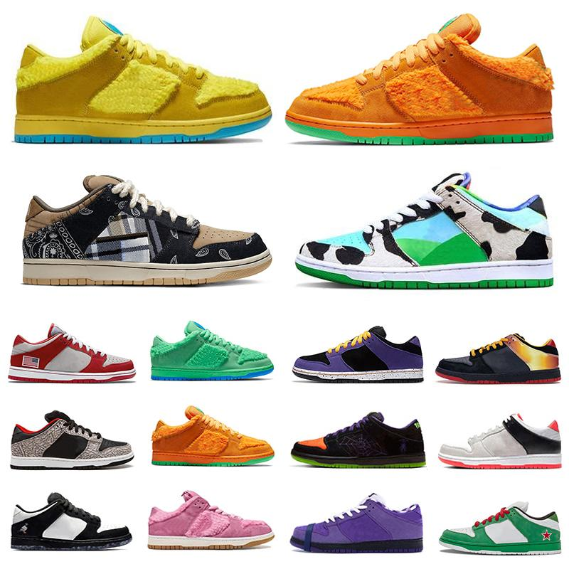 Stock X Nike air zoom SB DUNK Ben Jerrys X Chunky Dunky Dunk Low cut Mens sport designer sneakers Panda Pigeon Safari Raygun Tie-Dye Infrared Shadow red women men Casual shoes