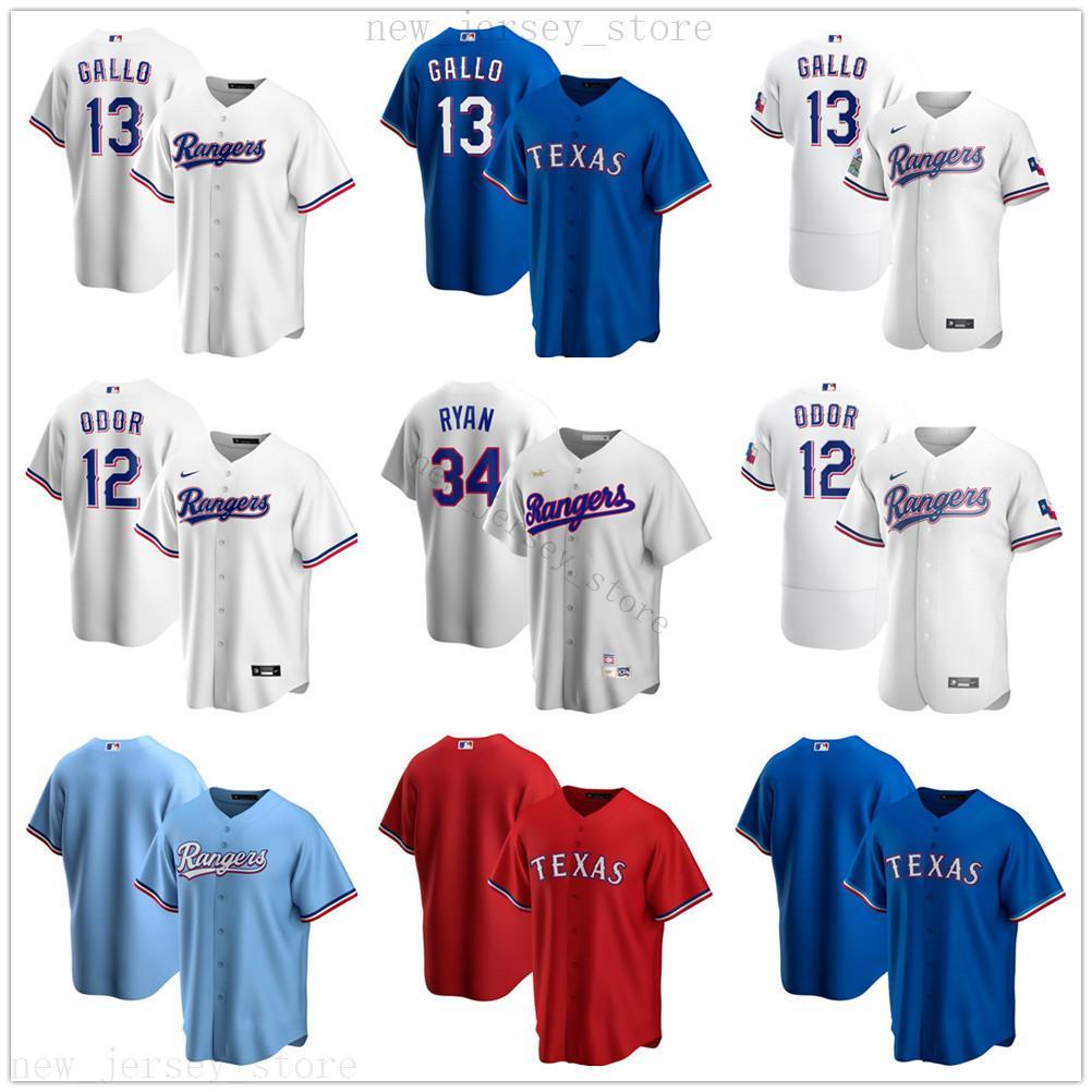 2020 nuevas temporadas de béisbol Estilo 13 Joey Gallo jerseys cosido 12 Rougned Odor 34 Nolan Ryan Jersey azul real alternativo White Home