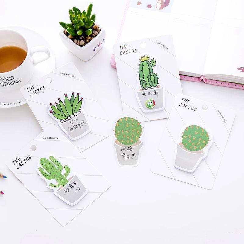 Sevimli Tasarımcı Cactus Memo Pad Yapışkan Not Sticker Memo Kitap Not kağıdı N Çıkartma Kırtasiye Ofis Aksesuarları Okul Toptan Malzemeleri