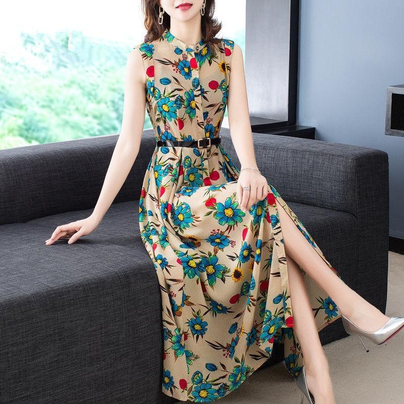 iH4bs Мода напечатанный жилет 2020 новый летний цветочный тонкий шифон платье длиной колена рукавов жилет платье