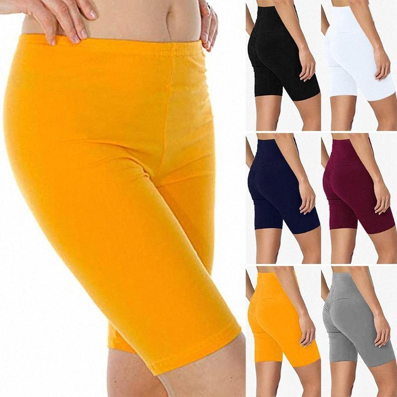 Sommer-Frauen-Sport-Yoga Fest Farbe Oberschenkel Stretch Cotton mit hohen Taille Aktiv Push Up Hip Fitness Gym Short Leggings Yoga Shorts # p4 E3si #