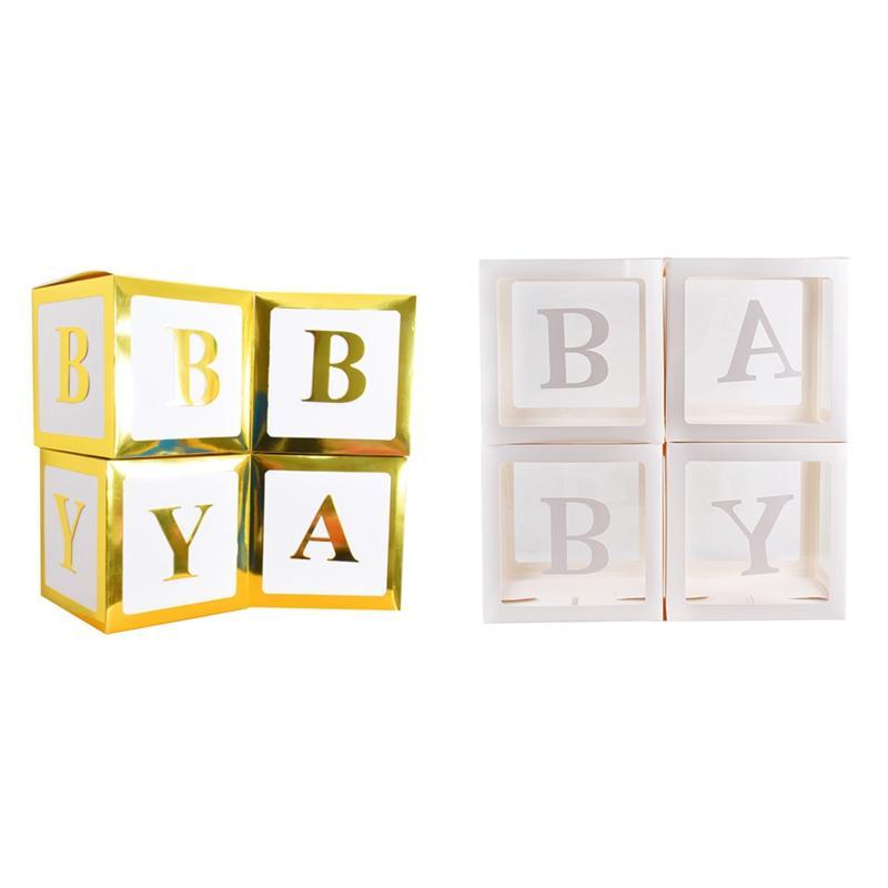 4pcs 12in cajas de embalaje transparente del globo Decoración Cajas Partido Square