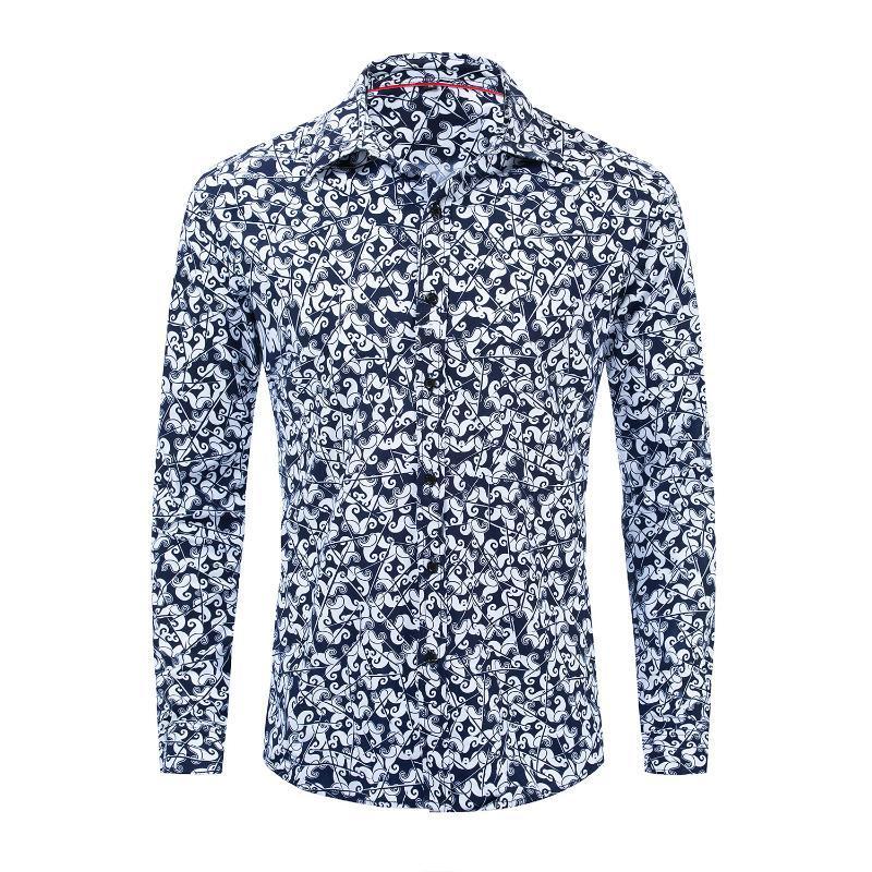 Beiläufige Art und Weise bedrucktes Shirt Männer Umlegekragen Langarm-Shirt Cotton Male Hawaiianische Reise Shirts Coole Street