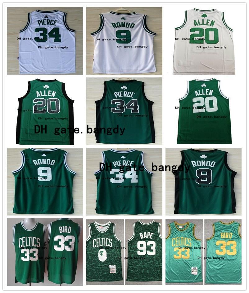 Vintage MensBostonCelticsnba Ray 20 Allen Paul 34 Pierce Larry 33 Bird 9 RajonRondo Stitched Retro Basketball Jersey