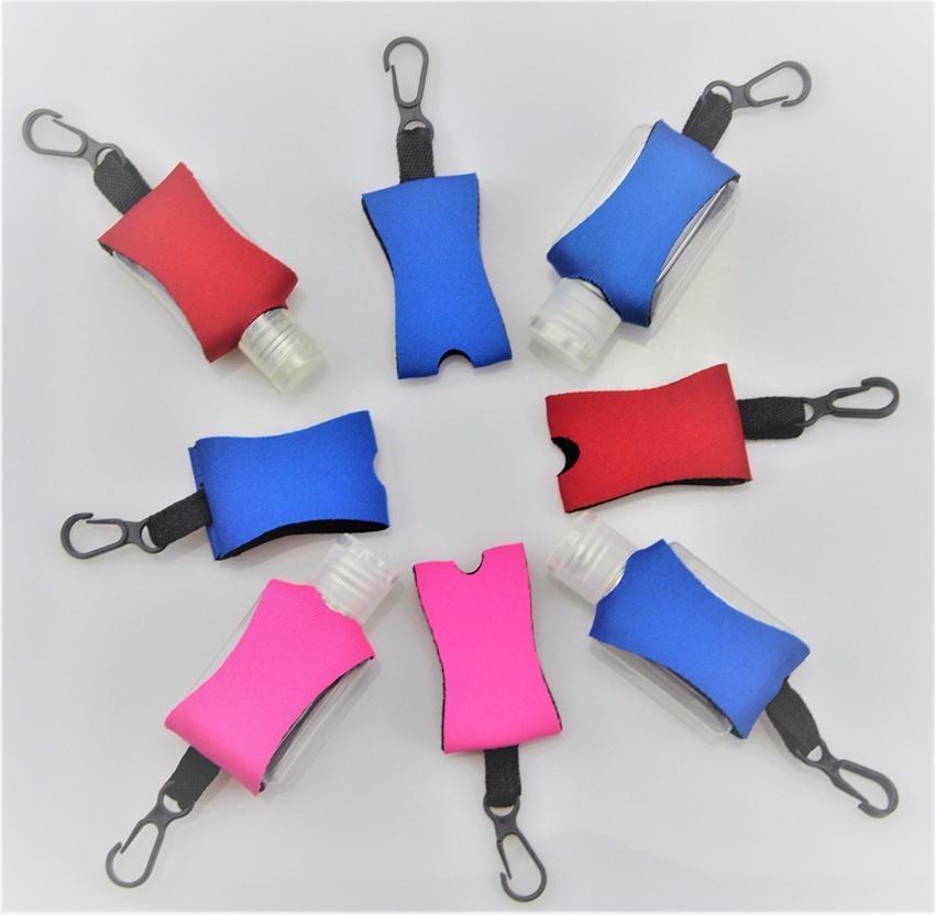 Néoprène Cover pour 30ml Bottle Hand Sanitizer manches avec pince porte-clés souple imprimé néoprène gel désinfectant pour les mains Porte-DHF502