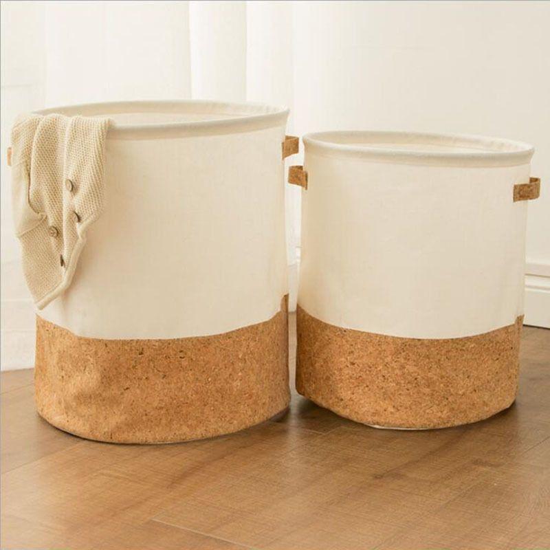 Algodão e linho armazenamento Bucket Waterproof Debris roupa Cesta de armazenamento Household Cesta de armazenamento portáteis roupa suja cesto T200624