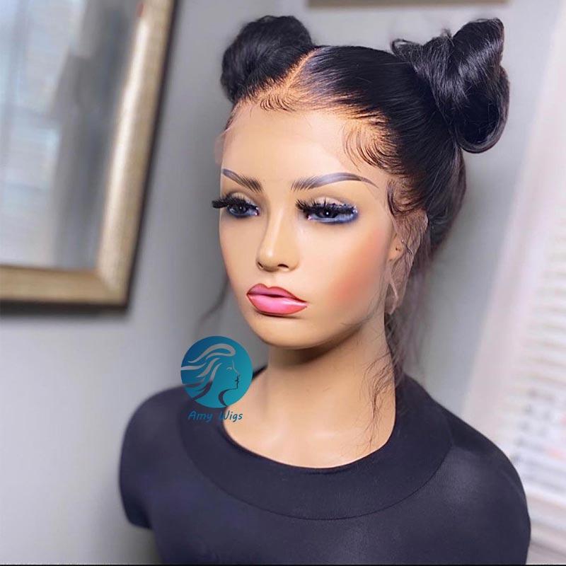 Prepluck Full HD Peruca frontal Natural Remy 150% Transparente Afro Long Lace Front Front Human Human Wigs para mulheres negras em linha reta 30 polegadas