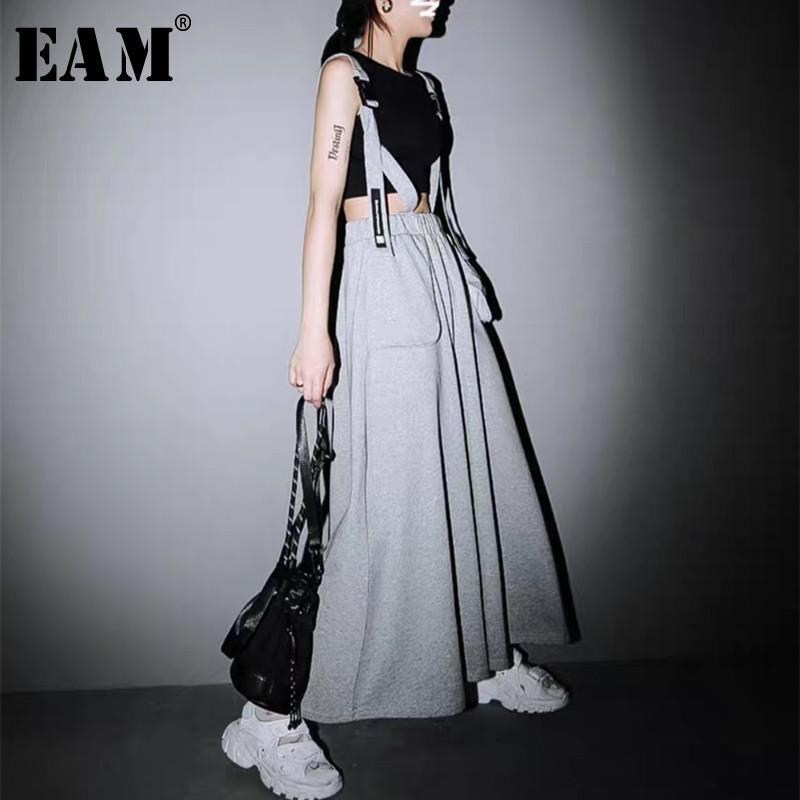 [EAM] taille haute gris Big Taille de poche de Split Joint longue sangle demi-corps Jupe Femmes Mode Tide Nouveau Printemps Automne 2020 1W185