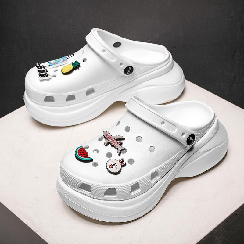 Открытый пляж сандалии увеличить ДОСУГ тапочки женщин обувь толстым дном башмаки Wrap нога большая голова тапочка женщин Симпатичные отверстие обувь