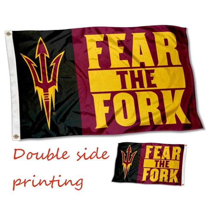 Doppelseitendruck ASU Arizona State University Flag 3x5 Ft 90x150cm Zwei gleicher Flags mit einem Block Out Stoffe in der Mitte