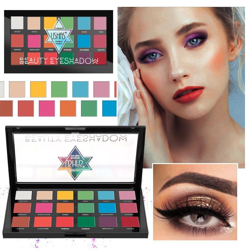 18 colores de sombra de ojos de colores desnuda color mate Vino Rojo Azul Verde disco nuevo maquillaje a prueba de agua No Blooming sombra de ojos bandeja TSLM2