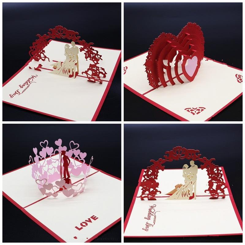 Coeur Cartes de voeux de mariage d'amour en forme de carte d'invitation 3D stéréoscopiques Manuel papier Sculpture Carte postale Creative La nouvelle de C1