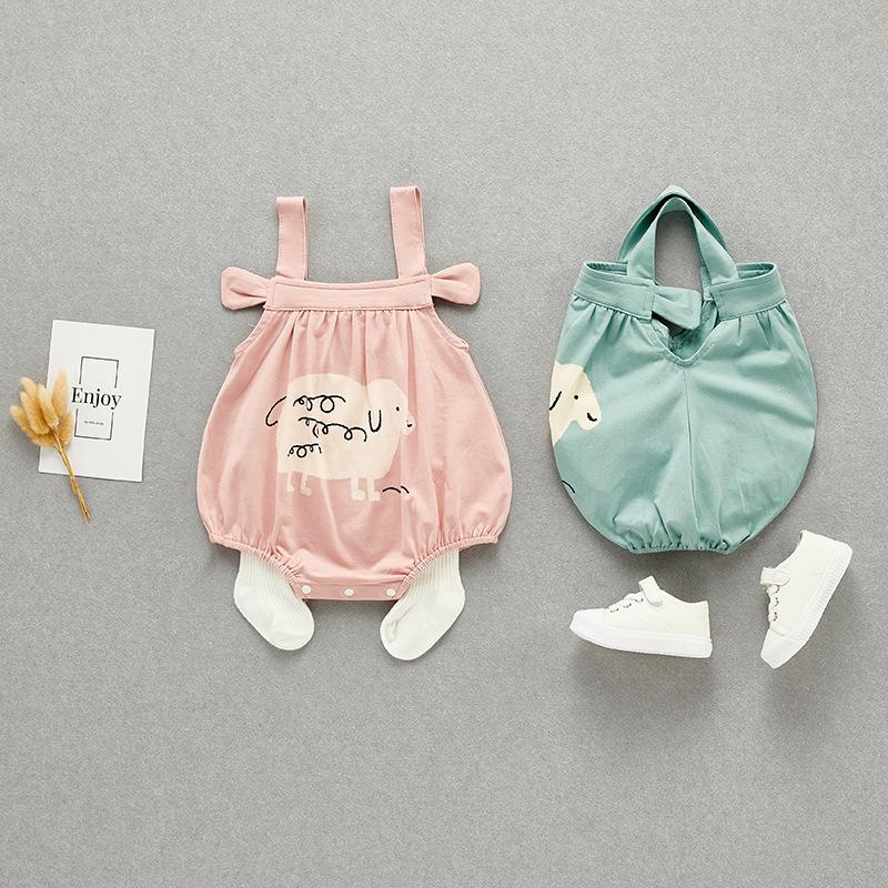 Baby Clothes Summer New Romper 0 to 1 Year Old Strap Triangle Jumpsuit Men and Women Baby out Romper Childrens Clothing