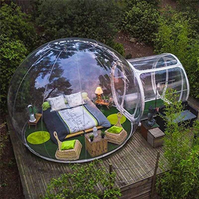 Blower Aufblasbare Bubble House 2 Personen im Freien Einzel Tunnel Aufblasbare Camping-Zelt Family Camping Hinterhof Transparent Zelt Camping OZxh #