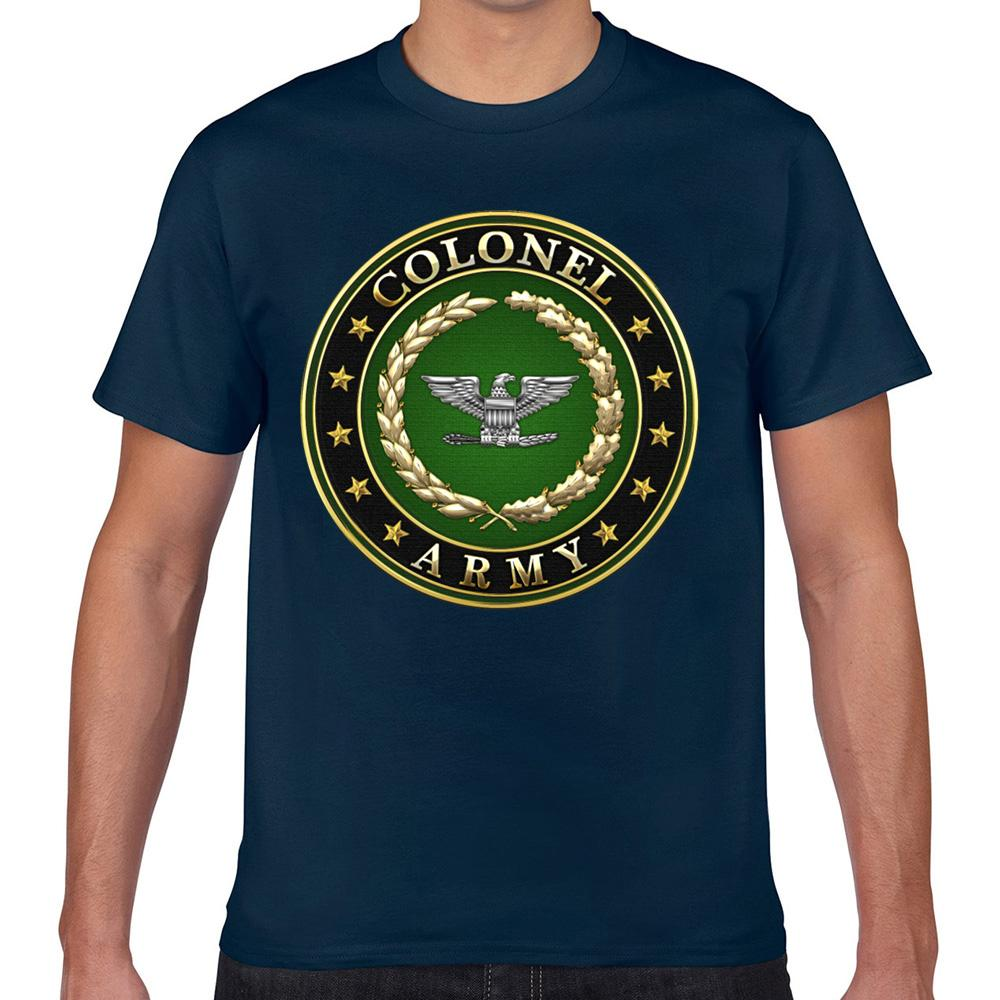 Tops T-Shirt Männer Armee Oberst col Rangabzeichen 3d Lustige Harajuku Geek Cotton männlich T-Shirt XXX