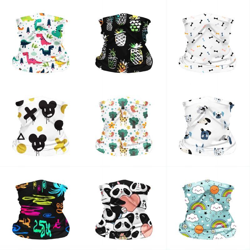 DHL Shipping Seamless Bandana UV Protection Neck Gaiter Tube Headwear Summer Breathable Scarf Cartoon Face Shield for Kids Children B99F