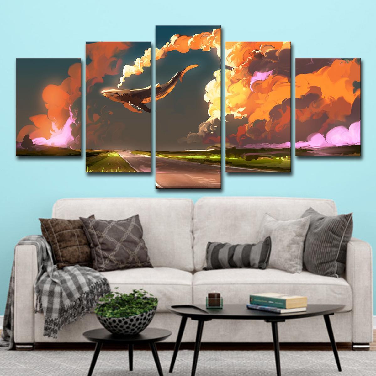 Çerçevesiz Özet Manzara Tuval Wall Art Pictures Salon Ev Dekorasyonu 5 Adet için Boyama Havadan içinde Renkli Bulutlar Balık şeklinde