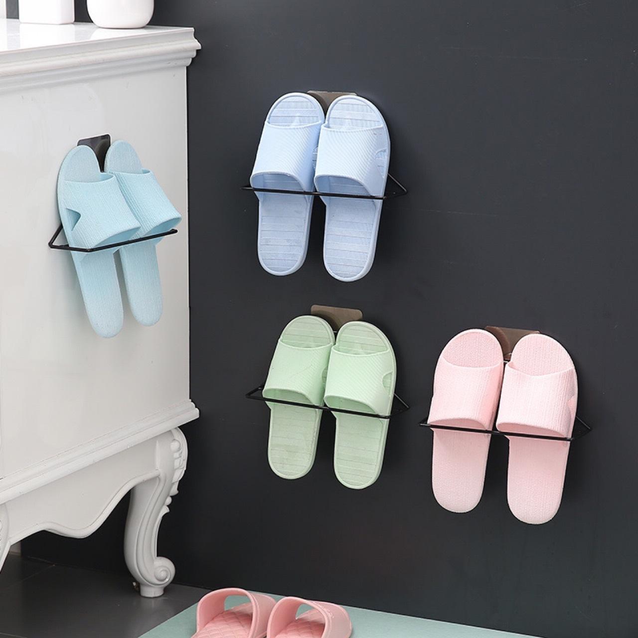 Montado en la pared del estante del sostenedor zapatos zapatilla de hierro pegado triángulo casa sencilla sin golpe de trapo baño de metal estante de almacenamiento toalla
