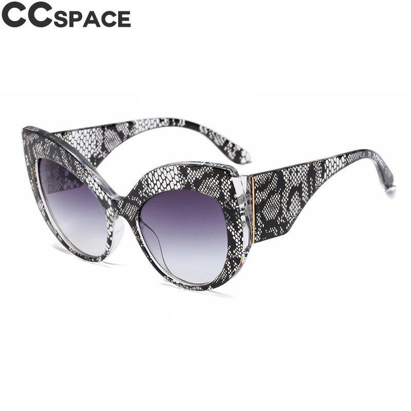 45616 Piel de serpiente del patrón grande del ojo de gato gafas de sol de las mujeres de gran tamaño cortinas de la manera de la vendimia Uv400 Marca Gafas