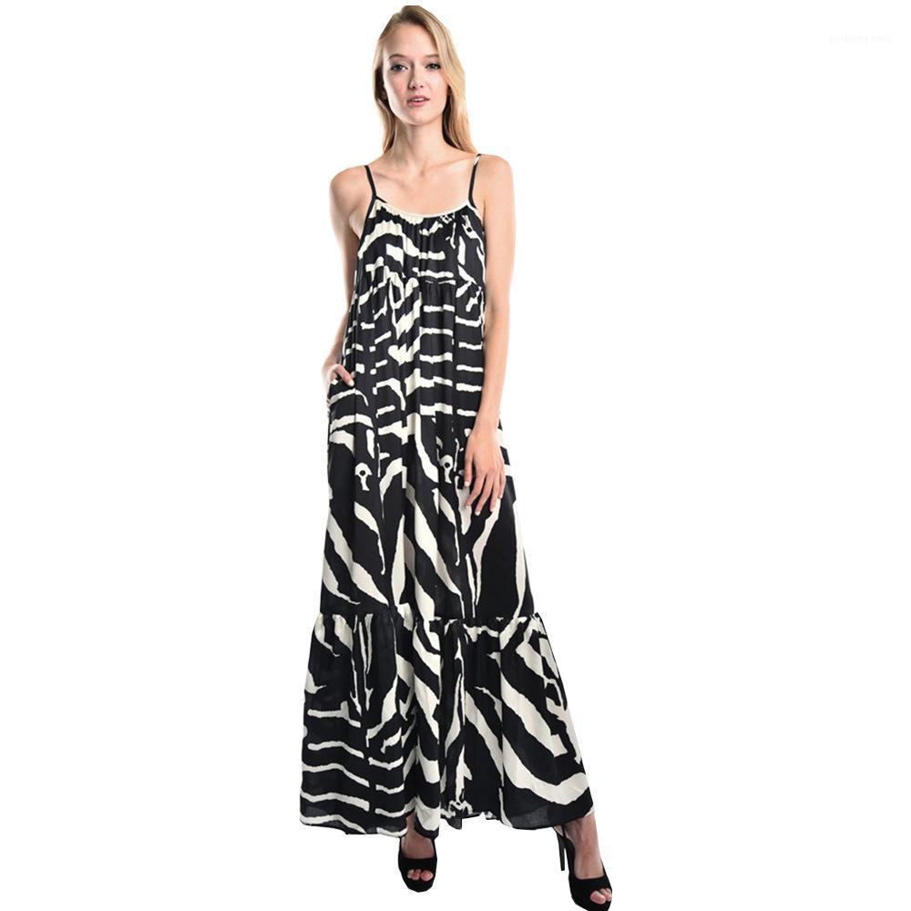 Seksi Backless Elbiseler Kadınlar Yüksek Bel Rahat Giyim Bayan Zebra Çizgili Yaz Elbise Kadın Moda Spagetti Kayışı