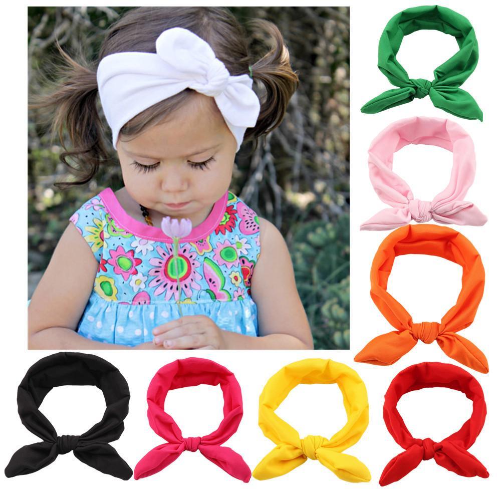 12 Farben-nette Mädchen Fliegen Kaninchenohren Haarband Frauen-Stirnband-Haarband für Mama und Baby