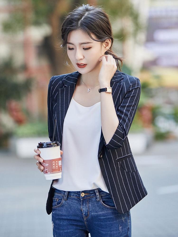 CUd9G a righe stile coreano delle donne piccolo rivestimento del vestito 2019 nuova primavera e l'estate rivestimento di affari jacketwear manica sette quarti chic ca sottile