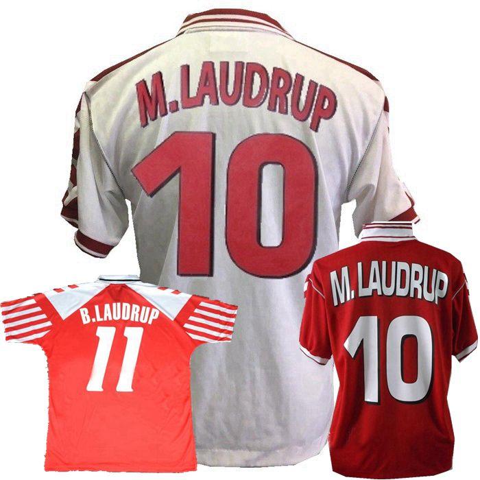 Retro Dinamarca Jerseys 1992 1998 Dinamarca Home Away Heintze B.Laudrox M.Laudrox Camisa de futebol retrô S-2XL