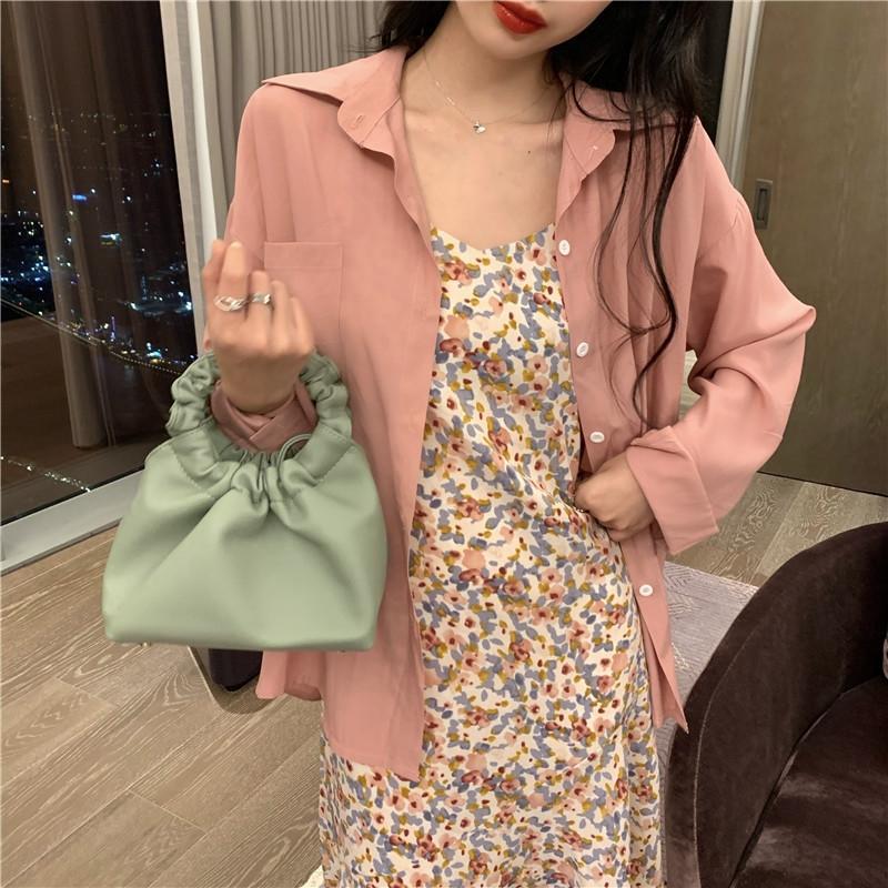 s6R4I 4112 корейский набор 2020 Лето v-образным вырезом цветочные платье + стиль назад раскол рубашки платье юбка рыбий хвост юбки Fishtail