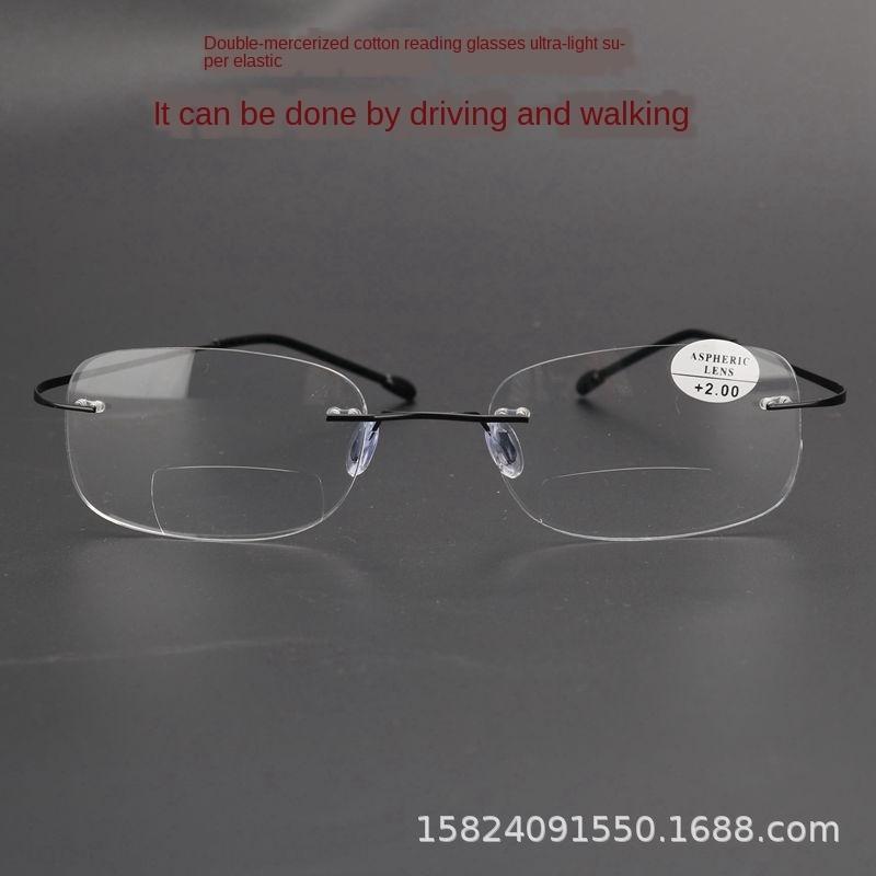 LlGH0 trimming super light frameless super Double-light reading New elastic hinge-free alloy metal HD fashion Korean style Glasses Glas d2EN4