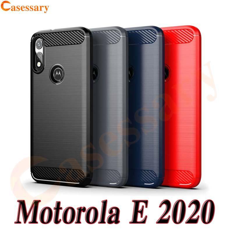 Fibra de carbono escovado textura Phone Case para Motorola E 2020 Uma Fushion Além disso G rápido LG Velvet Stylo 6 K31 K51 K61