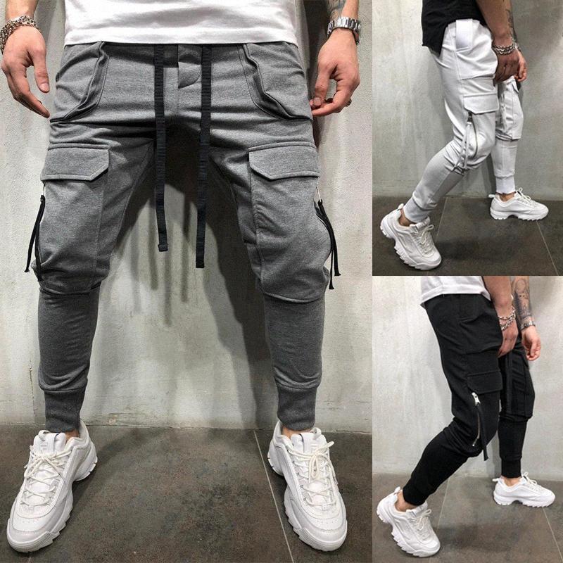 Hot Vente hommes de poche de remise en forme du faisceau de petits pieds Zipper Patch Pocket Slim Pantalons piste Crayon Pantalons FD15 Drawstring #