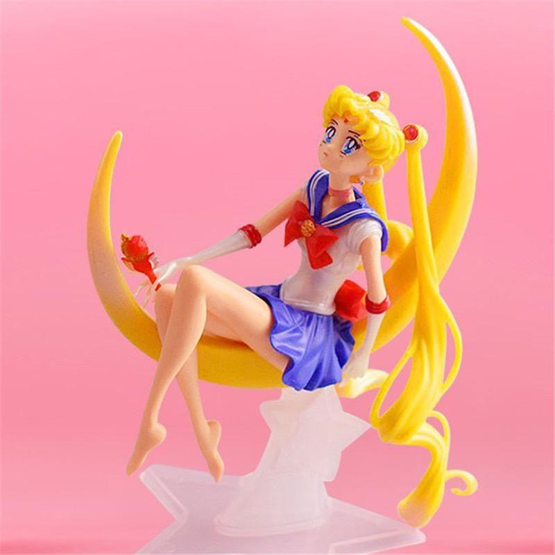 High Quality 12cm Cartoon Sailor Moon Action Figures Toys Moon Power Model Anime Collection Toy Figures Birthday Cake Room Car Decoration