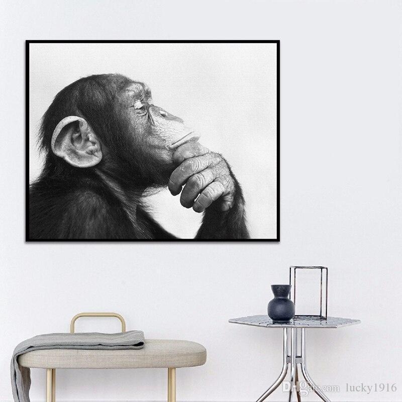 Salon Modern Ev Dekorasyon Soyut Wall Art Maymun Poster Baskılar Duvar Resimleri Boyama Siyah Beyaz Hayvan Tuval Yağı