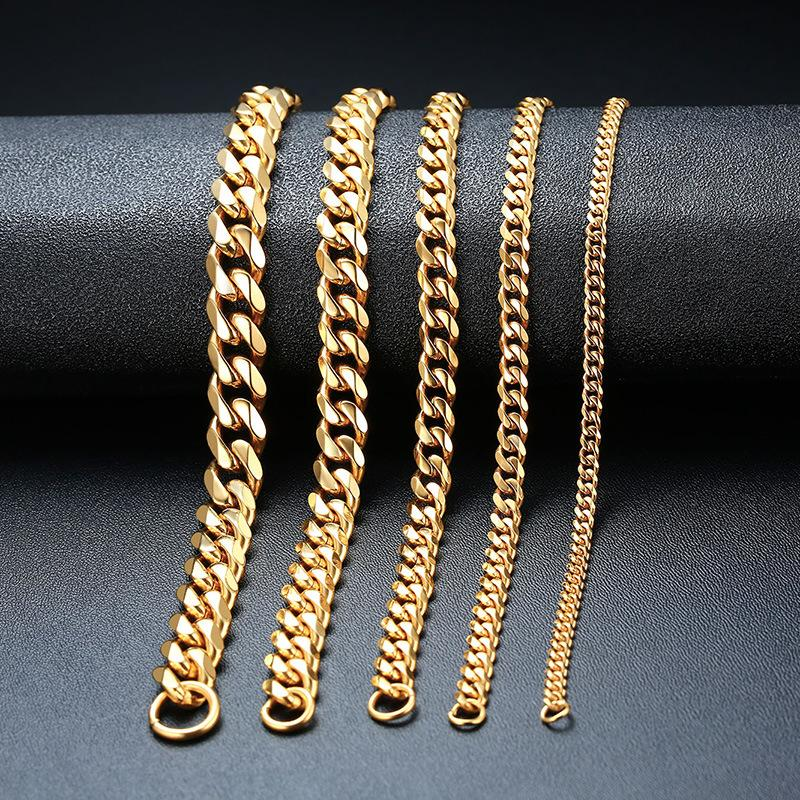 Joyería de moda hombres pulsera mujer pulsera cadenas pulsera acero inoxidable enlace pulseras brazalete oro plata negro color 3MM-11mm