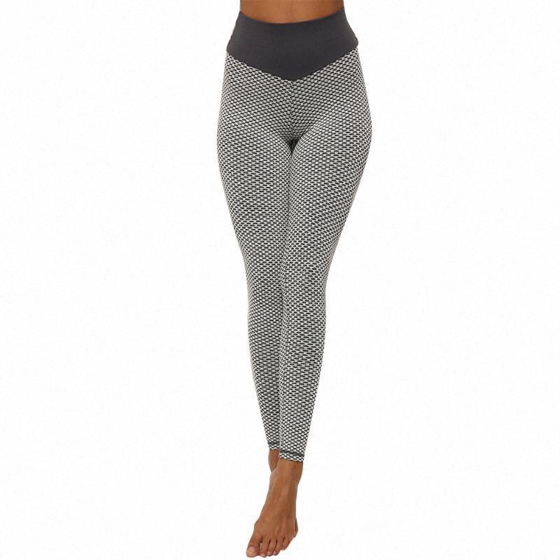 Femmes taille haute en tricot jacquard entraînement sexy leggings Pantalons Yoga Gym Fitness Course Hip Lift Mode élastique # EI2l Sweat Absorbant