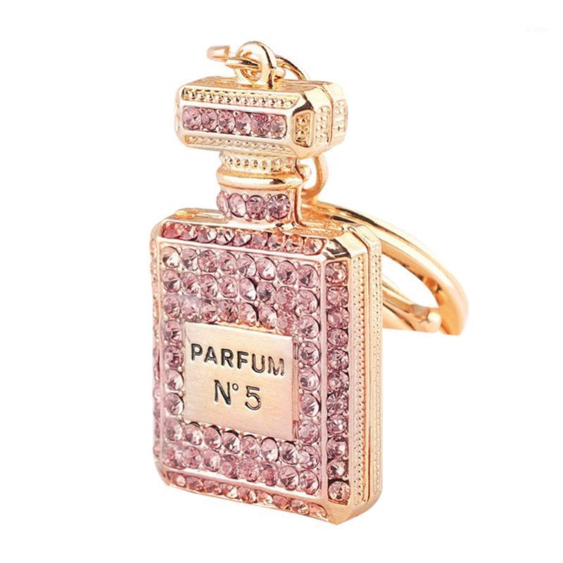 garrafa de cristal perfume mulheres suporte chave de moda chaveiro anel cadeia bagcar acessórios inventário claro Armazém Big Promotion1