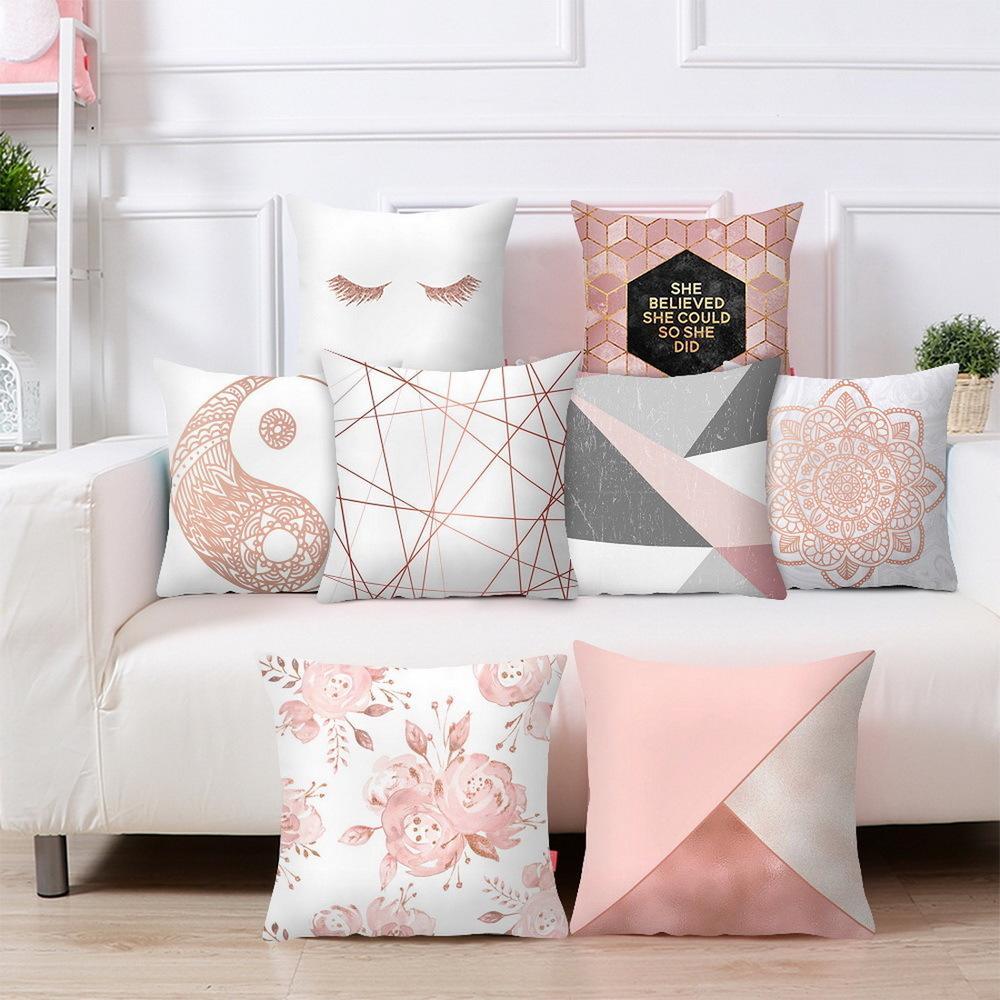 Rosa geometrica Piazza Caso copertura dell'ammortizzatore del cuscino in poliestere tiro cuscino della copertura per il sofà decorativo e Home Decor 45x45cm