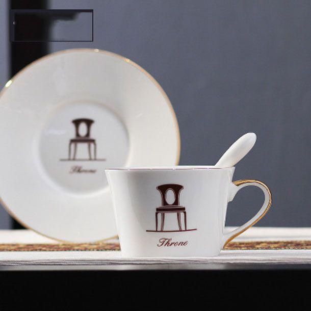 2020 COFFE MUG European pure Ceramic coffee cup saucer set chair horse Circle bird stripe paint Coffee Cupprofessional mug