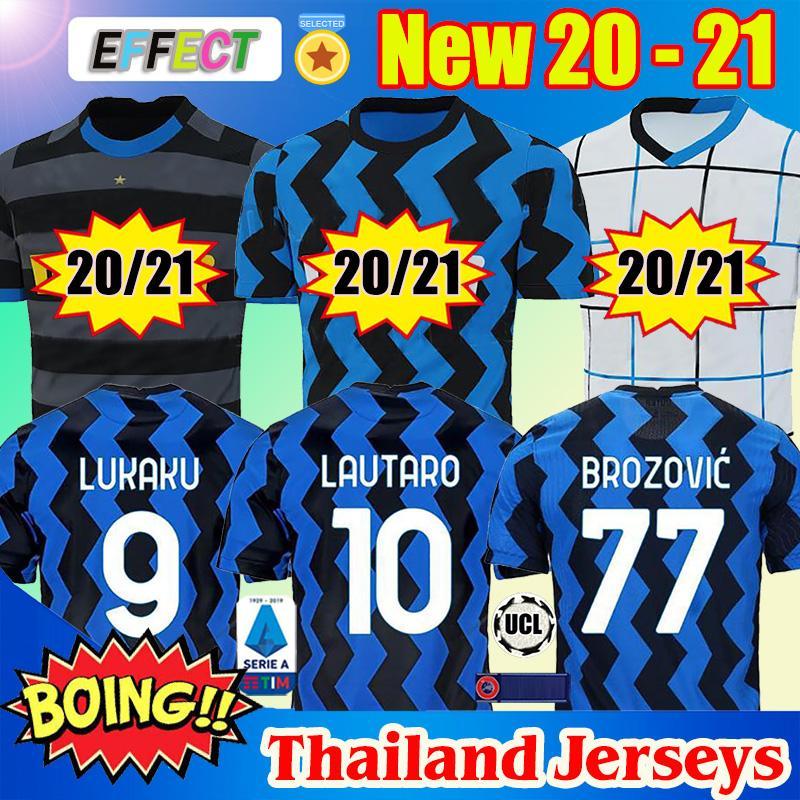 2020 2021 INTER Football Maillots ERIKSEN Lukaku LAUTARO ALEXIS Maillots 20 21 MILAN PERISIC Škriniar GODIN Thaïlande football Chemises uniformes
