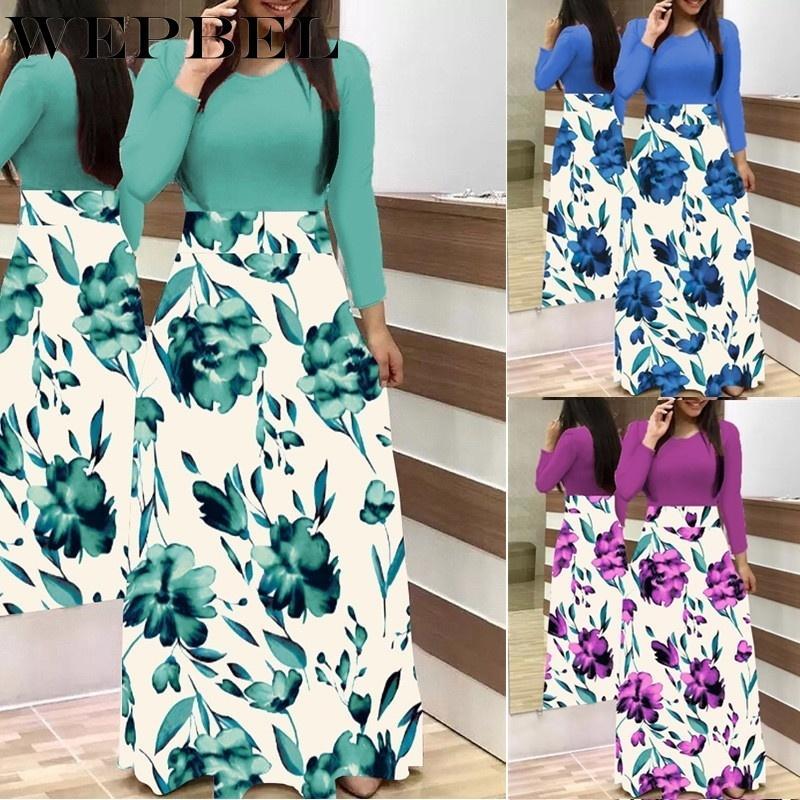 WEPBEL длинным рукавом платье партии плюс размер S-5XL Женщины Осень Зима дряблая Цветочные отпечатанных Длинное платье