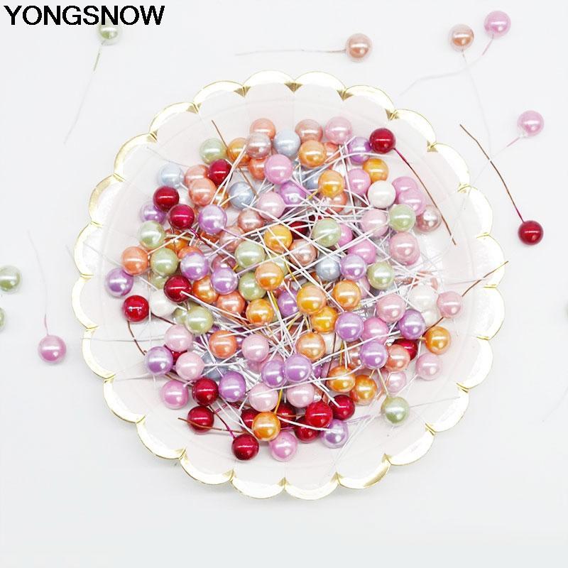 50/100pcs Mini Plastic Artificial Flower Fake Fruit Stamens Cherry Plant Pearl Berries For Wedding DIY Wreath Craft Gift Decor