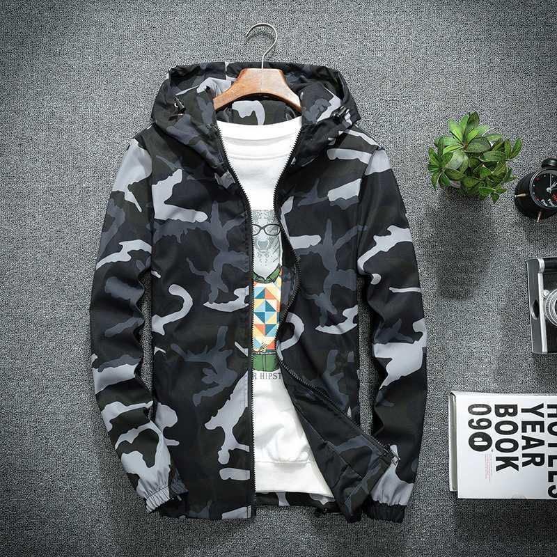 Nuove Camo Giacche 2020 Primavera Autunno casual Cappotti Giacca con cappuccio da uomo Camouflage Moda Maschile Outwear marchio di abbigliamento 5XL