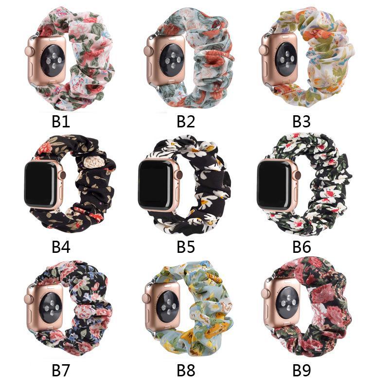 Elma İzle Band Scrunchies 38mm Bezi Yumuşak Desen Baskılı Kumaş Bileklik Bilezik iWatch Sevimli Elastik toka Gruplar için uyumlu